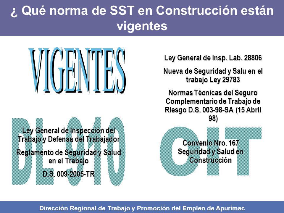Ley General de Inspección del Trabajo y Defensa del Trabajador Reglamento de Seguridad y Salud en el Trabajo D.S.
