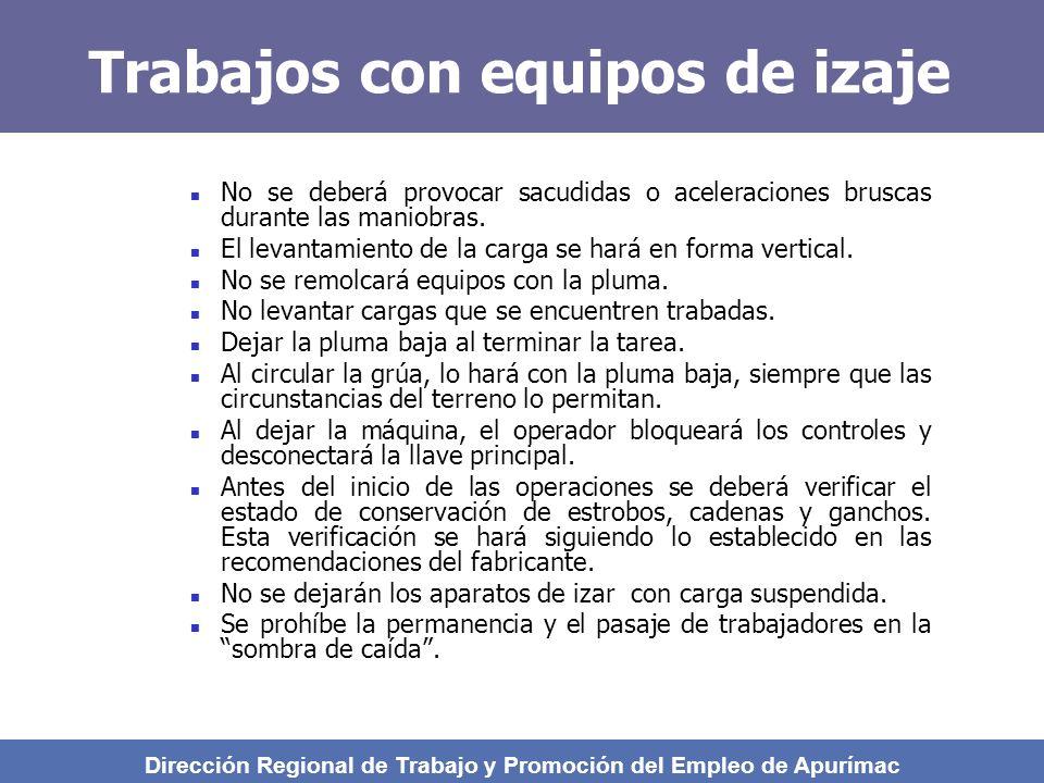 Trabajos con equipos de izaje No se deberá provocar sacudidas o aceleraciones bruscas durante las maniobras.