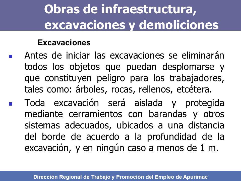 Obras de infraestructura, excavaciones y demoliciones Excavaciones Antes de iniciar las excavaciones se eliminarán todos los objetos que puedan desplomarse y que constituyen peligro para los trabajadores, tales como: árboles, rocas, rellenos, etcétera.