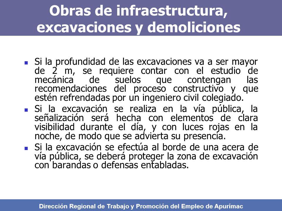 Obras de infraestructura, excavaciones y demoliciones Si la profundidad de las excavaciones va a ser mayor de 2 m, se requiere contar con el estudio de mecánica de suelos que contengan las recomendaciones del proceso constructivo y que estén refrendadas por un ingeniero civil colegiado.