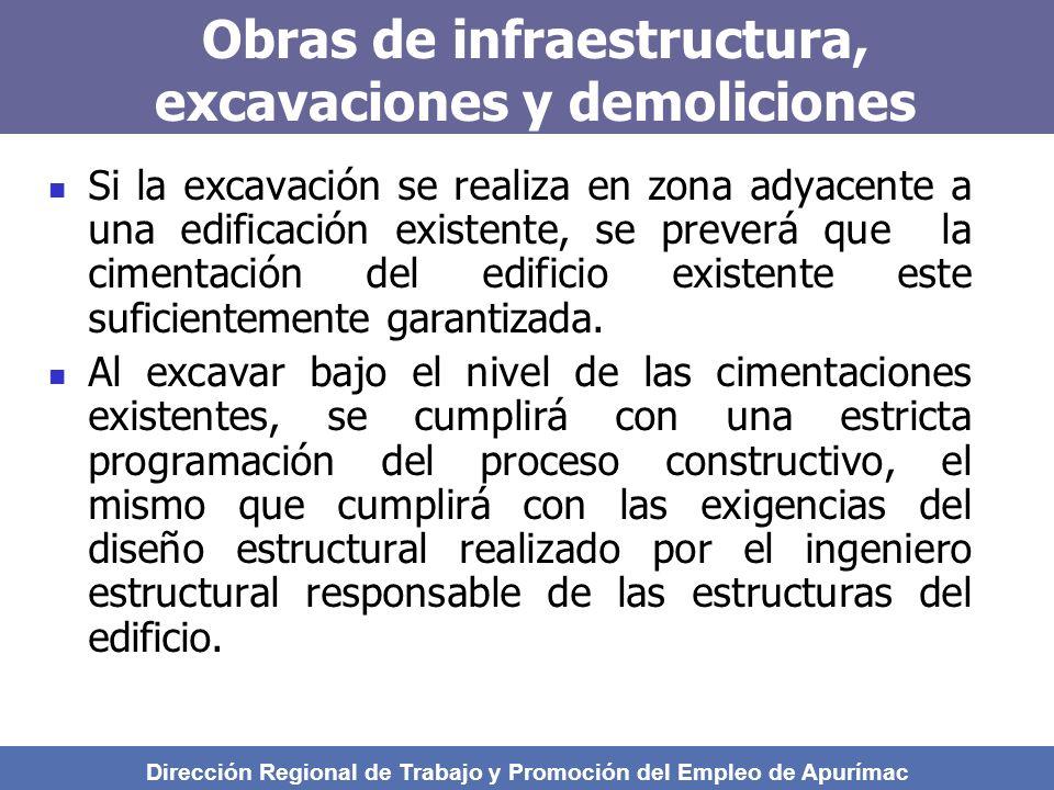 Obras de infraestructura, excavaciones y demoliciones Si la excavación se realiza en zona adyacente a una edificación existente, se preverá que la cimentación del edificio existente este suficientemente garantizada.