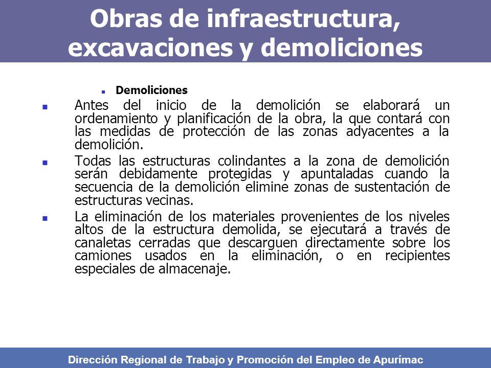 Obras de infraestructura, excavaciones y demoliciones Demoliciones Antes del inicio de la demolición se elaborará un ordenamiento y planificación de la obra, la que contará con las medidas de protección de las zonas adyacentes a la demolición.