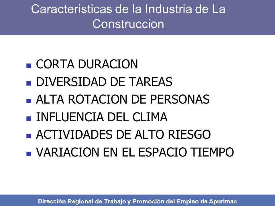 PRINCIPALES ASPECTOS DE SEGURIDAD Y SALUD A OBSERVAR EN OBRAS DE CONSTRUCCION CIVIL Dirección Regional de Trabajo y Promoción del Empleo de Apurímac