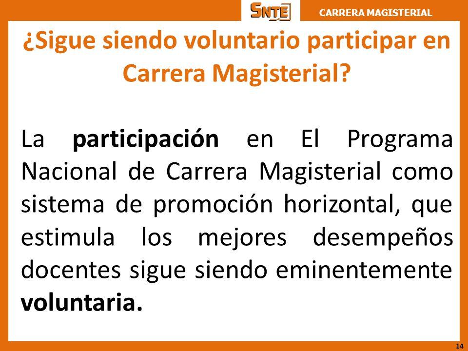 CARRERA MAGISTERIAL ¿Sigue siendo voluntario participar en Carrera Magisterial? La participación en El Programa Nacional de Carrera Magisterial como s
