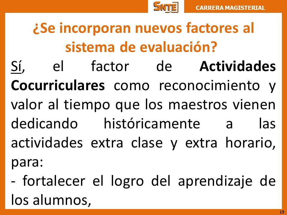 CARRERA MAGISTERIAL ¿Se incorporan nuevos factores al sistema de evaluación? Sí, el factor de Actividades Cocurriculares como reconocimiento y valor a