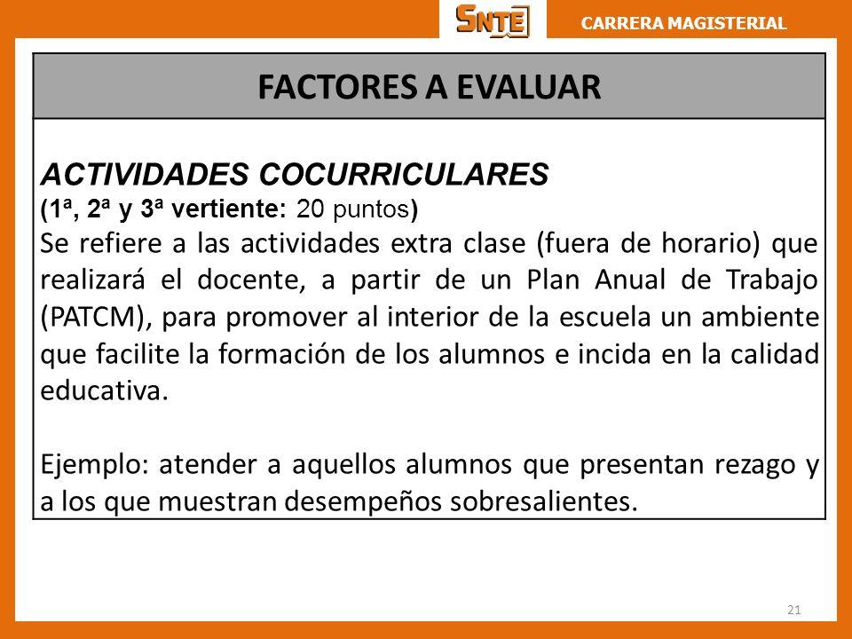 CARRERA MAGISTERIAL 21 FACTORES A EVALUAR ACTIVIDADES COCURRICULARES (1ª, 2ª y 3ª vertiente: 20 puntos) Se refiere a las actividades extra clase (fuer
