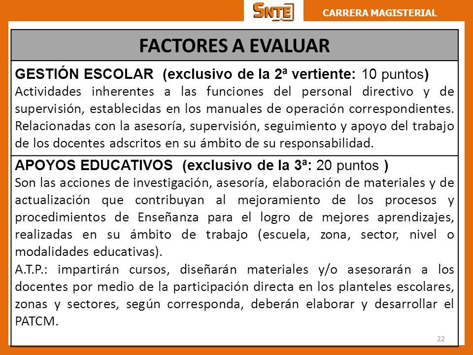 CARRERA MAGISTERIAL 22 FACTORES A EVALUAR GESTIÓN ESCOLAR (exclusivo de la 2ª vertiente: 10 puntos) Actividades inherentes a las funciones del persona