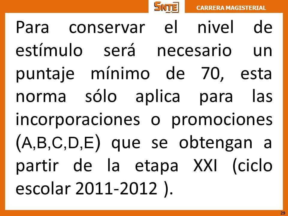 CARRERA MAGISTERIAL Para conservar el nivel de estímulo será necesario un puntaje mínimo de 70, esta norma sólo aplica para las incorporaciones o prom