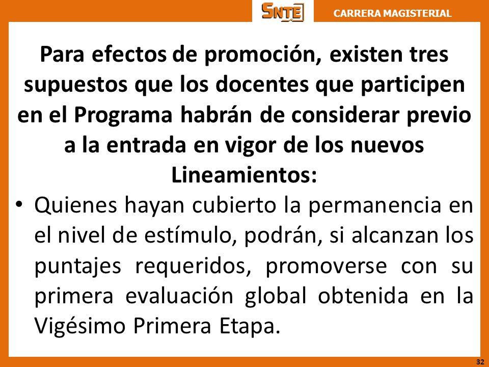 CARRERA MAGISTERIAL Para efectos de promoción, existen tres supuestos que los docentes que participen en el Programa habrán de considerar previo a la