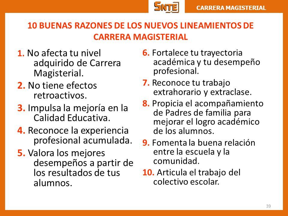 CARRERA MAGISTERIAL 10 BUENAS RAZONES DE LOS NUEVOS LINEAMIENTOS DE CARRERA MAGISTERIAL 1. No afecta tu nivel adquirido de Carrera Magisterial. 2. No