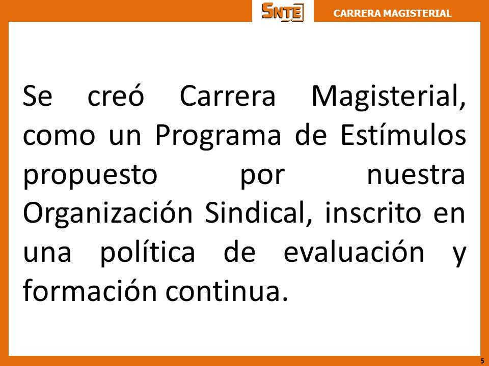 CARRERA MAGISTERIAL Se creó Carrera Magisterial, como un Programa de Estímulos propuesto por nuestra Organización Sindical, inscrito en una política d
