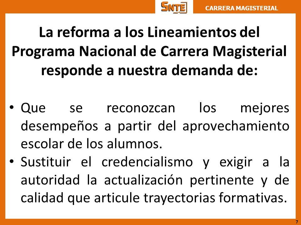 CARRERA MAGISTERIAL La reforma a los Lineamientos del Programa Nacional de Carrera Magisterial responde a nuestra demanda de: Que se reconozcan los me