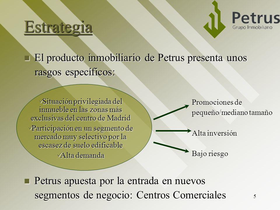 5 Estrategia El producto inmobiliario de Petrus presenta unos El producto inmobiliario de Petrus presenta unos rasgos específicos: rasgos específicos: