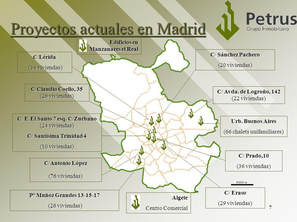 7 Proyectos actuales en Madrid C/ F. El Santo 7 esq. C/Zurbano (24 viviendas) C/ Santísima Trinidad 4 (10 viviendas) C/Antonio López (76 viviendas) C/