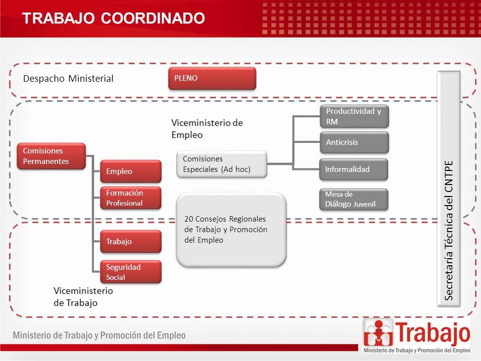 AVANCES/LOGROS DE CARÁCTER INSTITUCIONAL: Mesa de Diálogo Social Juvenil para el Trabajo Decente (2011) Constitución de 20 Consejos Regionales de Trabajo y Promoción del Empleo OPINIÓN SOBRE PROPUESTAS NORMATIVAS: Ley General de Trabajo (2002-2006) Ley de Relaciones Colectivas de Trabajo y Reglamento (2001- 2002; 2006-2007) Ley de Modalidades Formativas Laborales (2002; 2004-2005) Régimen de Compensación por Tiempo de Servicios (2001- 2004) Reglamento de Seguridad y Salud en el Trabajo (2005-2007) Procedimiento de sumisión de normas internacionales de trabajo (2008 …)