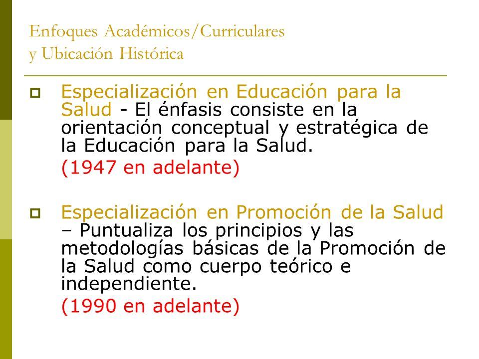 Enfoques Académicos/Curriculares y Ubicación Histórica Especialización en Educación para la Salud - El énfasis consiste en la orientación conceptual y