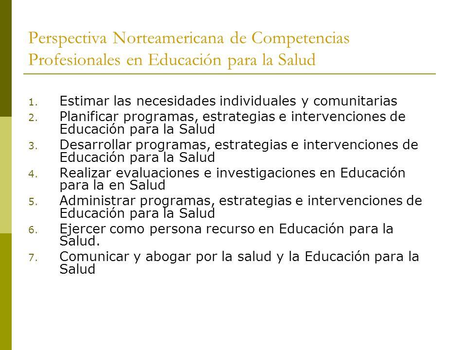 Perspectiva Norteamericana de Competencias Profesionales en Educación para la Salud 1. Estimar las necesidades individuales y comunitarias 2. Planific