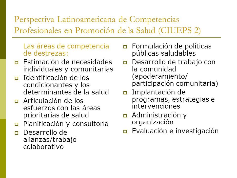 Perspectiva Latinoamericana de Competencias Profesionales en Promoción de la Salud (CIUEPS 2) Las áreas de competencia de destrezas: Estimación de nec