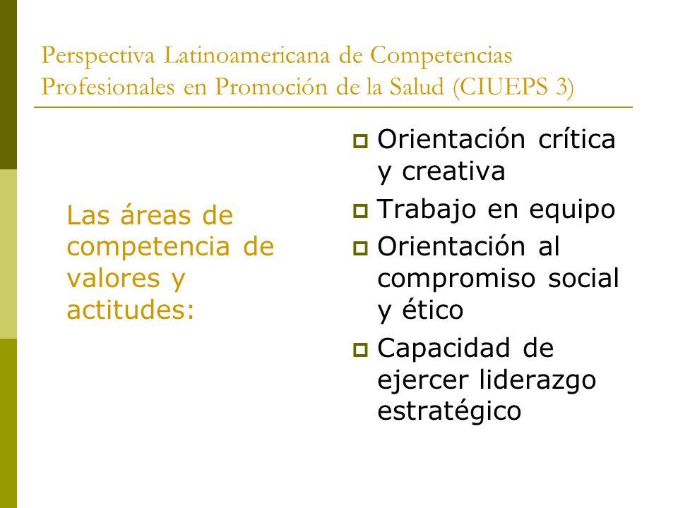 Perspectiva Latinoamericana de Competencias Profesionales en Promoción de la Salud (CIUEPS 3) Las áreas de competencia de valores y actitudes: Orienta