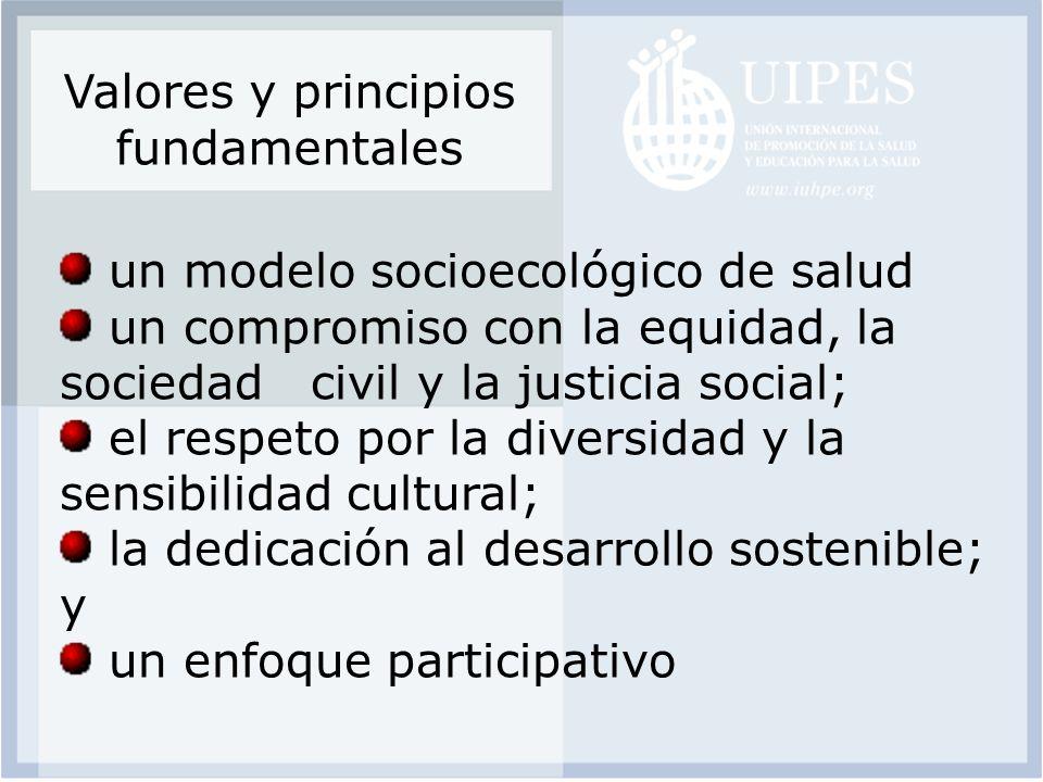 Valores y principios fundamentales un modelo socioecológico de salud un compromiso con la equidad, la sociedad civil y la justicia social; el respeto