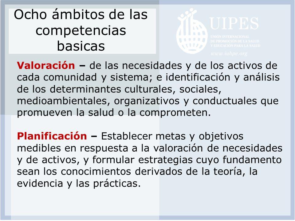 Ocho ámbitos de las competencias basicas Valoración – de las necesidades y de los activos de cada comunidad y sistema; e identificación y análisis de