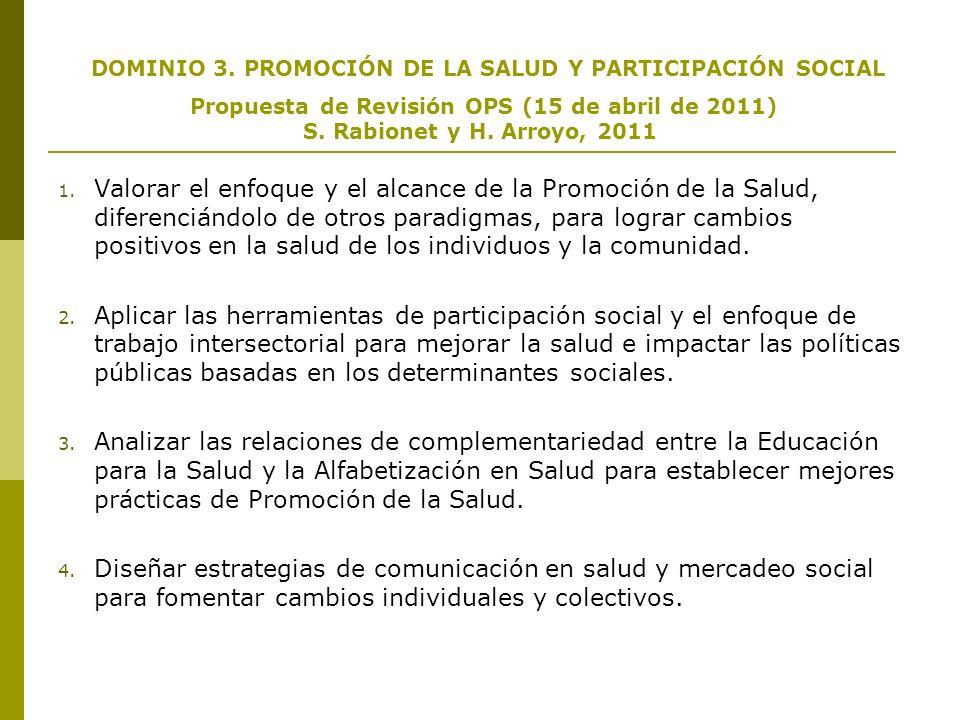 DOMINIO 3. PROMOCIÓN DE LA SALUD Y PARTICIPACIÓN SOCIAL Propuesta de Revisión OPS (15 de abril de 2011) S. Rabionet y H. Arroyo, 2011 1. Valorar el en