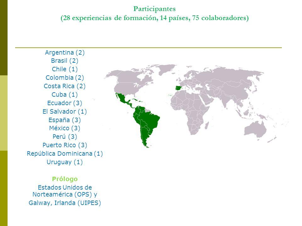 Participantes (28 experiencias de formación, 14 países, 75 colaboradores) Argentina (2) Brasil (2) Chile (1) Colombia (2) Costa Rica (2) Cuba (1) Ecua