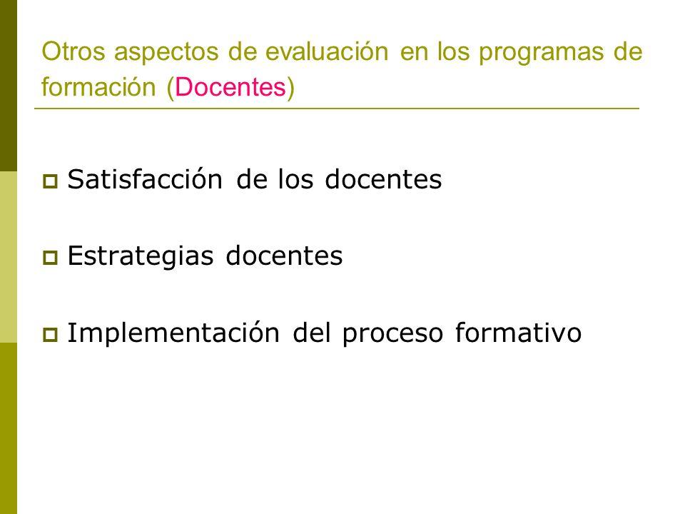 Otros aspectos de evaluación en los programas de formación (Docentes) Satisfacción de los docentes Estrategias docentes Implementación del proceso for