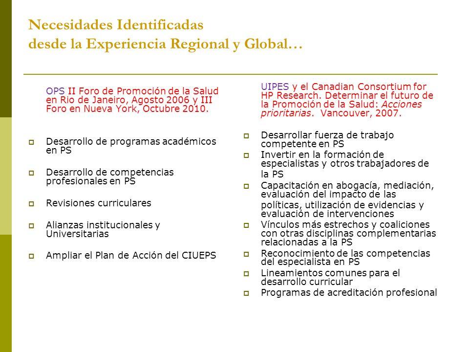 Necesidades Identificadas desde la Experiencia Regional y Global… OPS II Foro de Promoción de la Salud en Rio de Janeiro, Agosto 2006 y III Foro en Nu