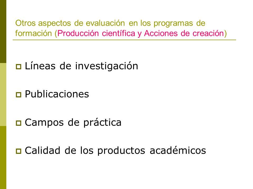 Otros aspectos de evaluación en los programas de formación (Producción científica y Acciones de creación) Líneas de investigación Publicaciones Campos