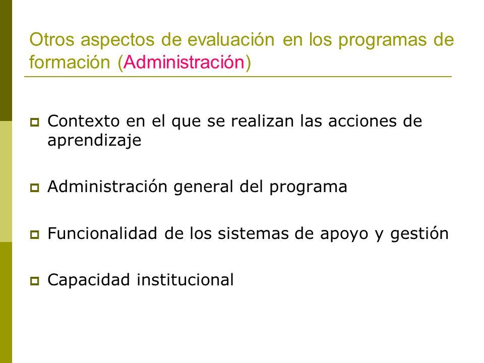 Otros aspectos de evaluación en los programas de formación (Administración) Contexto en el que se realizan las acciones de aprendizaje Administración