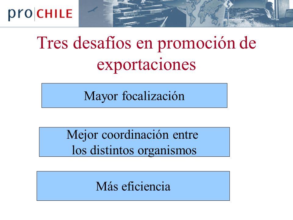 Tres desafíos en promoción de exportaciones Mayor focalización Mejor coordinación entre los distintos organismos Más eficiencia
