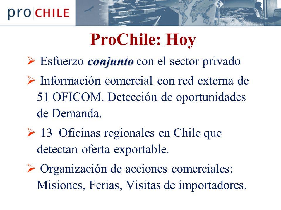 ProChile: Hoy conjunto Esfuerzo conjunto con el sector privado Información comercial con red externa de 51 OFICOM.