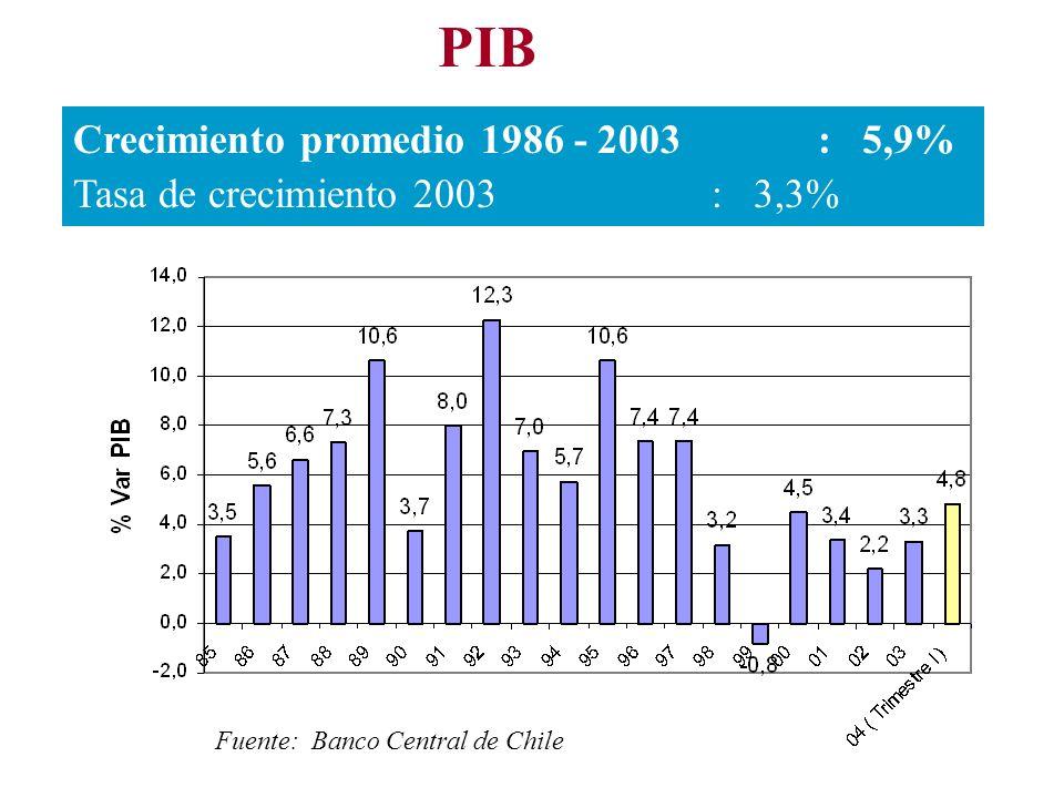 PIB Crecimiento promedio 1986 - 2003: 5,9% Tasa de crecimiento 2003: 3,3% Fuente: Banco Central de Chile
