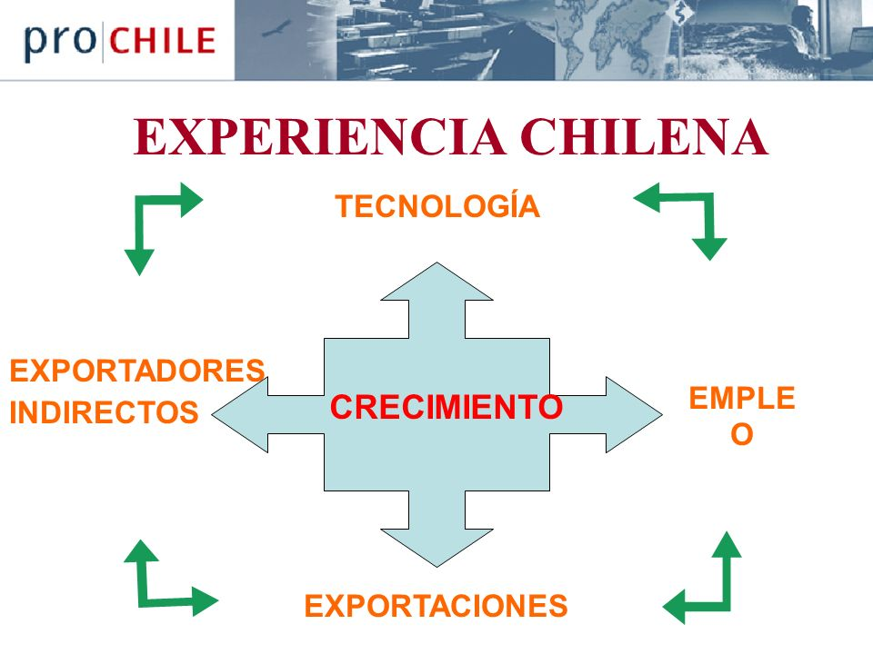 EXPERIENCIA CHILENA EXPORTADORES INDIRECTOS CRECIMIENTO EMPLE O EXPORTACIONES TECNOLOGÍA