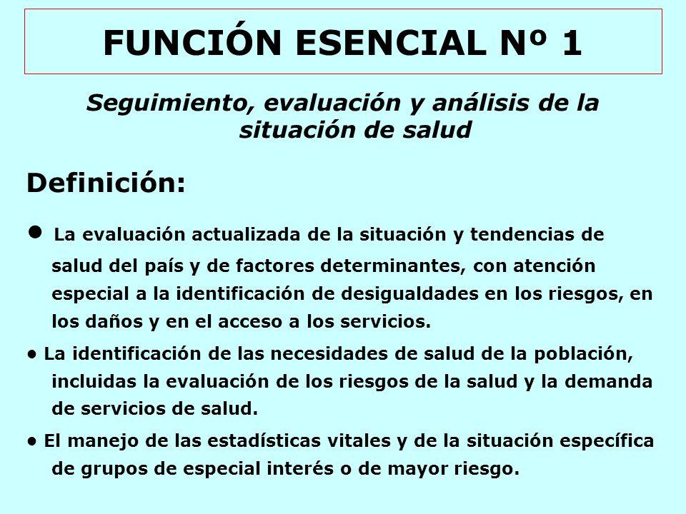 FUNCIÓN ESENCIAL Nº 1 Seguimiento, evaluación y análisis de la situación de salud Definición (continuación): La generación de información útil para la evaluación del desempeño de los servicios de salud.