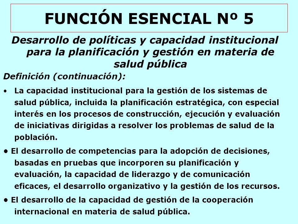 FUNCIÓN ESENCIAL Nº 6 Fortalecimiento de la capacidad institucional de regulación y fiscalización en materia de salud pública Definición: La capacidad institucional para desarrollar el marco reglamentario con el fin de proteger la salud pública y la fiscalización de su cumplimiento.