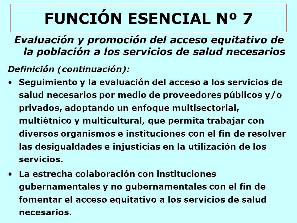 FUNCIÓN ESENCIAL Nº 8 Desarrollo de recursos humanos y capacitación en salud pública Definición: La identificación de un perfil para los recursos humanos en la salud pública que sea adecuado para la asignación de los servicios de salud pública.