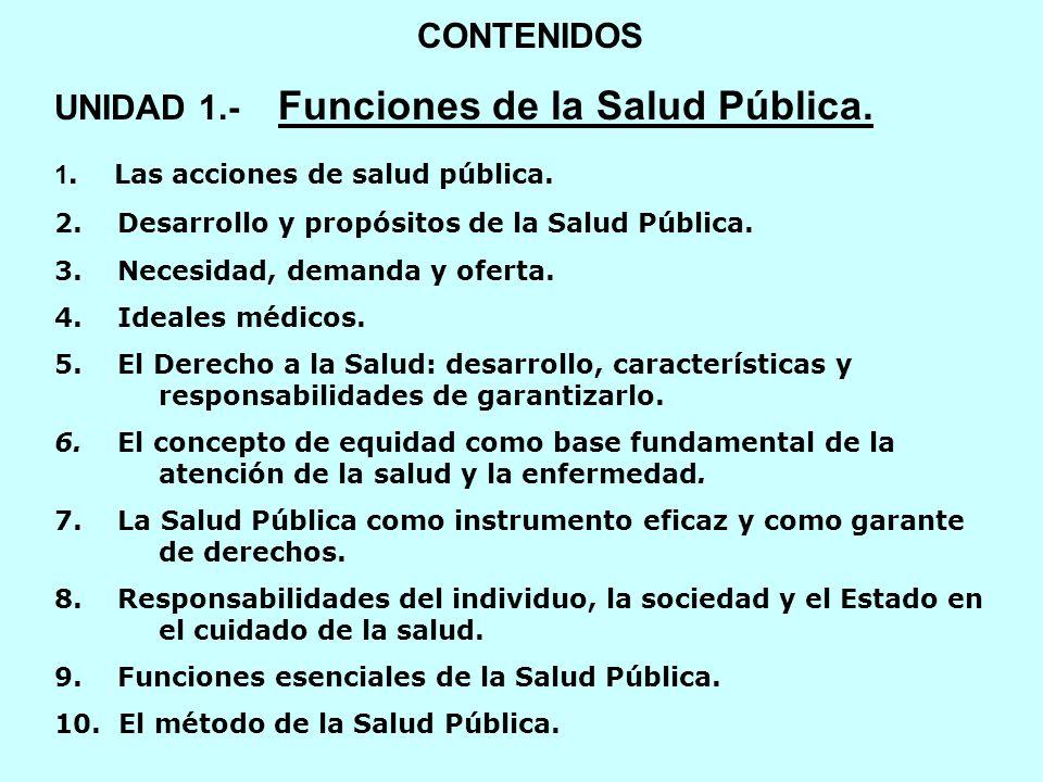 CONTENIDOS UNIDAD 1.- Funciones de la Salud Pública. 1. Las acciones de salud pública. 2. Desarrollo y propósitos de la Salud Pública. 3. Necesidad, d