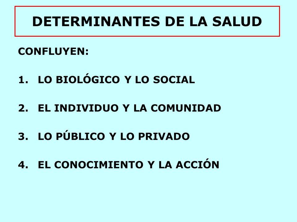 DETERMINANTES DE LA SALUD FACTORES: 1.ESTILOS Y HÁBITOS DE VIDA 2.MEDIO AMBIENTE 3.SISTEMA SANITARIO 4.BIOLOGÍA HUMANA Lalonde 1974