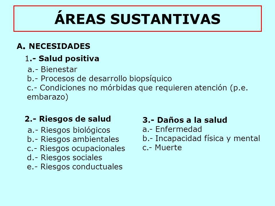 ÁREAS SUSTANTIVAS B.- FACTORES MEDIADORES ENTRE NECESIDADES Y SERVICIOS 1.- Equidad 2.- Tecnología de la salud 3.- Calidad de la atención