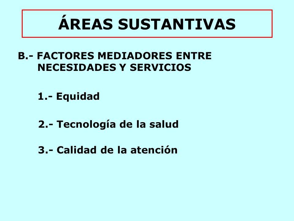 ÁREAS SUSTANTIVAS C.- SERVICIOS DE SALUD 1.- Factores determinantes de la utilización de los servicios 2.- Tipos de servicios a.- Servicios no personales de salud i.