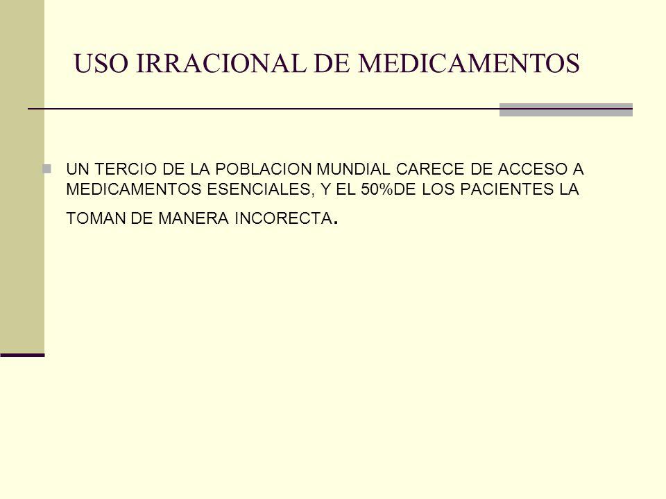 USO IRRACIONAL DE MEDICAMENTOS UN TERCIO DE LA POBLACION MUNDIAL CARECE DE ACCESO A MEDICAMENTOS ESENCIALES, Y EL 50%DE LOS PACIENTES LA TOMAN DE MANE