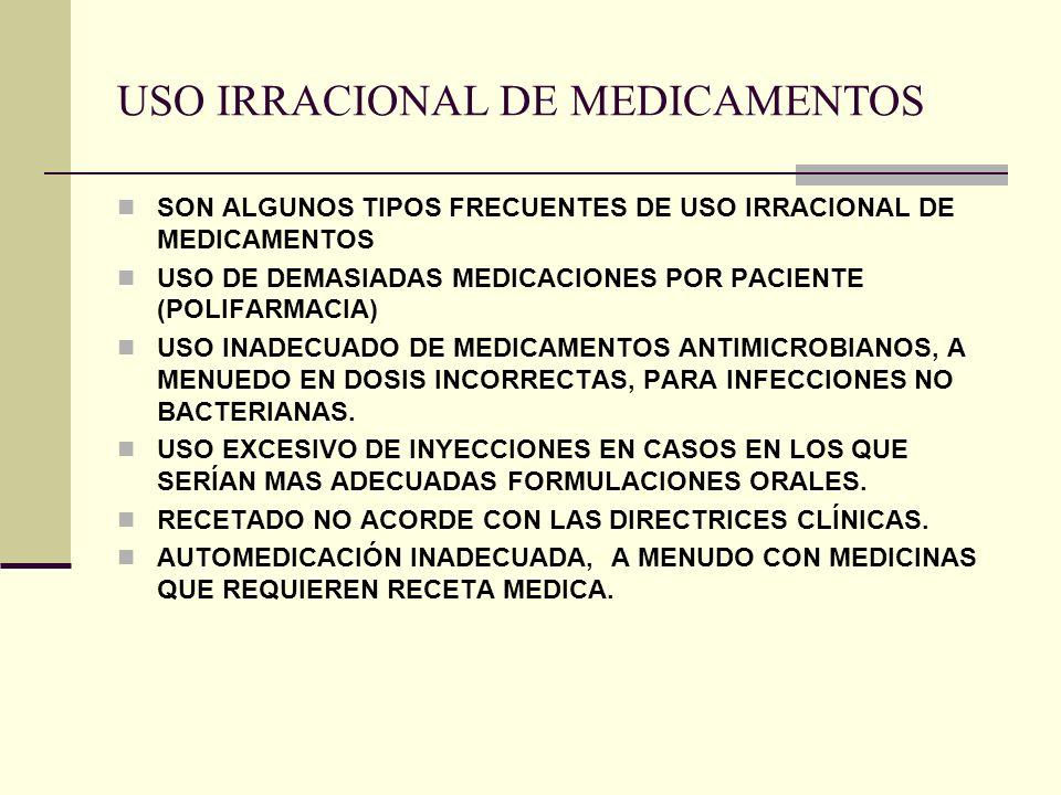 USO IRRACIONAL DE MEDICAMENTOS SON ALGUNOS TIPOS FRECUENTES DE USO IRRACIONAL DE MEDICAMENTOS USO DE DEMASIADAS MEDICACIONES POR PACIENTE (POLIFARMACIA) USO INADECUADO DE MEDICAMENTOS ANTIMICROBIANOS, A MENUEDO EN DOSIS INCORRECTAS, PARA INFECCIONES NO BACTERIANAS.