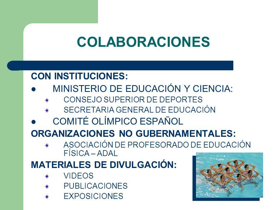 CON INSTITUCIONES: MINISTERIO DE EDUCACIÓN Y CIENCIA: CONSEJO SUPERIOR DE DEPORTES SECRETARIA GENERAL DE EDUCACIÓN COMITÉ OLÍMPICO ESPAÑOL ORGANIZACIONES NO GUBERNAMENTALES: ASOCIACIÓN DE PROFESORADO DE EDUCACIÓN FÍSICA – ADAL MATERIALES DE DIVULGACIÓN: VIDEOS PUBLICACIONES EXPOSICIONES COLABORACIONES