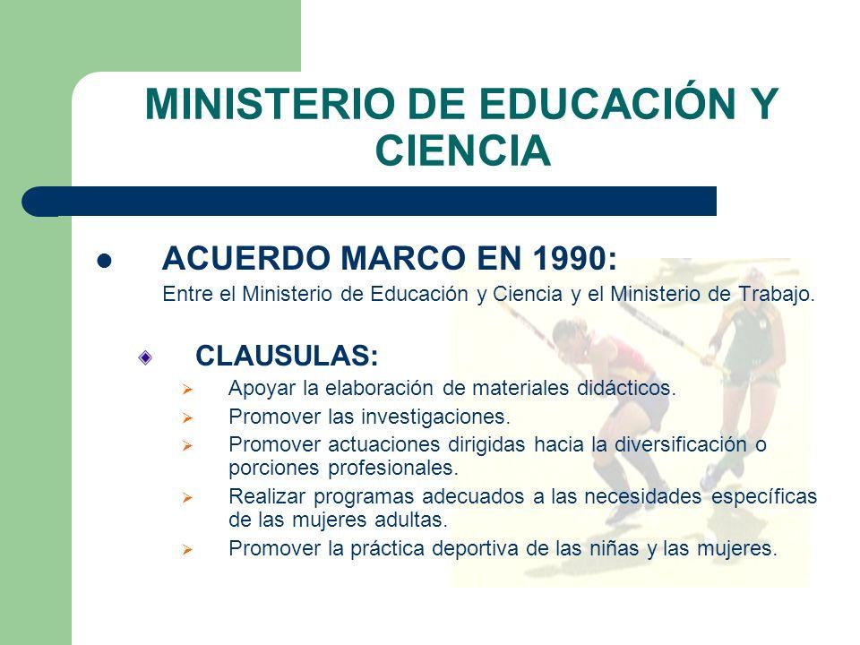 MINISTERIO DE EDUCACIÓN Y CIENCIA ACUERDO MARCO EN 1990: Entre el Ministerio de Educación y Ciencia y el Ministerio de Trabajo.