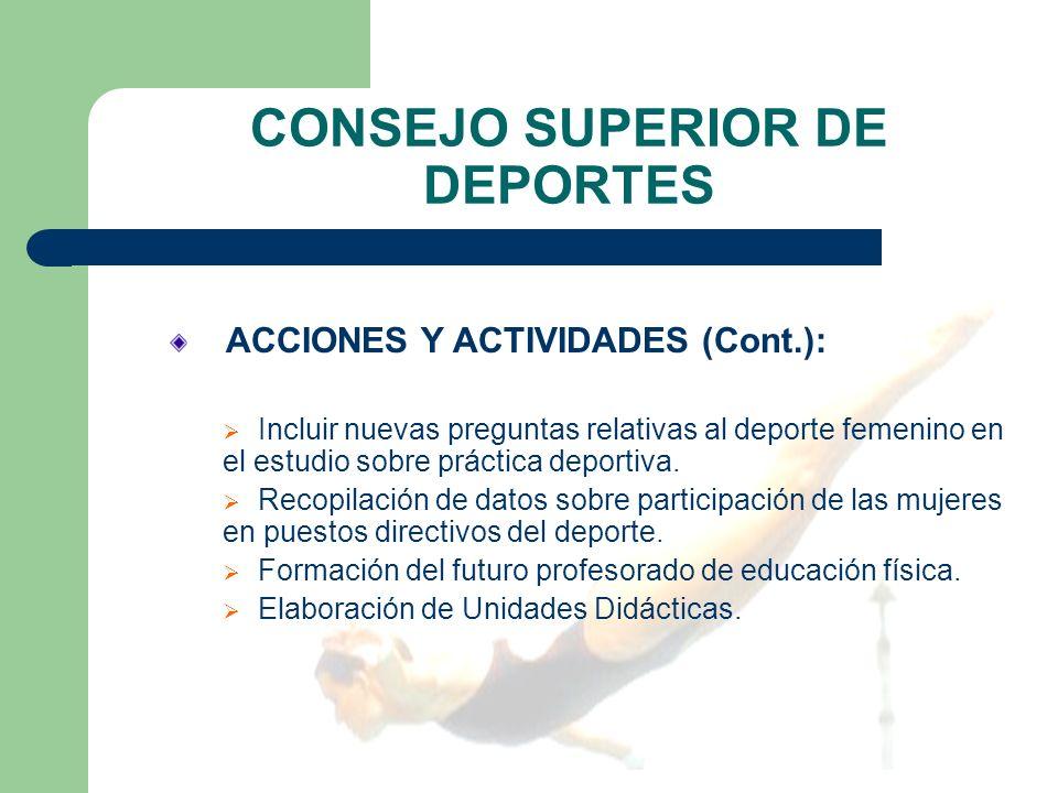 CONSEJO SUPERIOR DE DEPORTES ACCIONES Y ACTIVIDADES (Cont.): Incluir nuevas preguntas relativas al deporte femenino en el estudio sobre práctica deportiva.