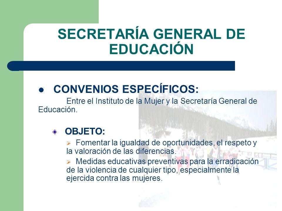 SECRETARÍA GENERAL DE EDUCACIÓN CONVENIOS ESPECÍFICOS: Entre el Instituto de la Mujer y la Secretaría General de Educación.