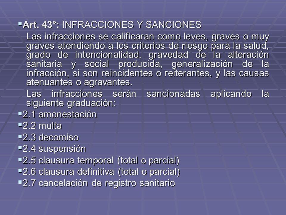 Art.43°: INFRACCIONES Y SANCIONES Art.