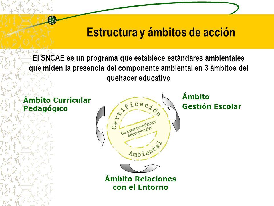 El SNCAE es un programa que establece estándares ambientales que miden la presencia del componente ambiental en 3 ámbitos del quehacer educativo Estructura y ámbitos de acción Ámbito Gestión Escolar Ámbito Relaciones con el Entorno Ámbito Curricular Pedagógico